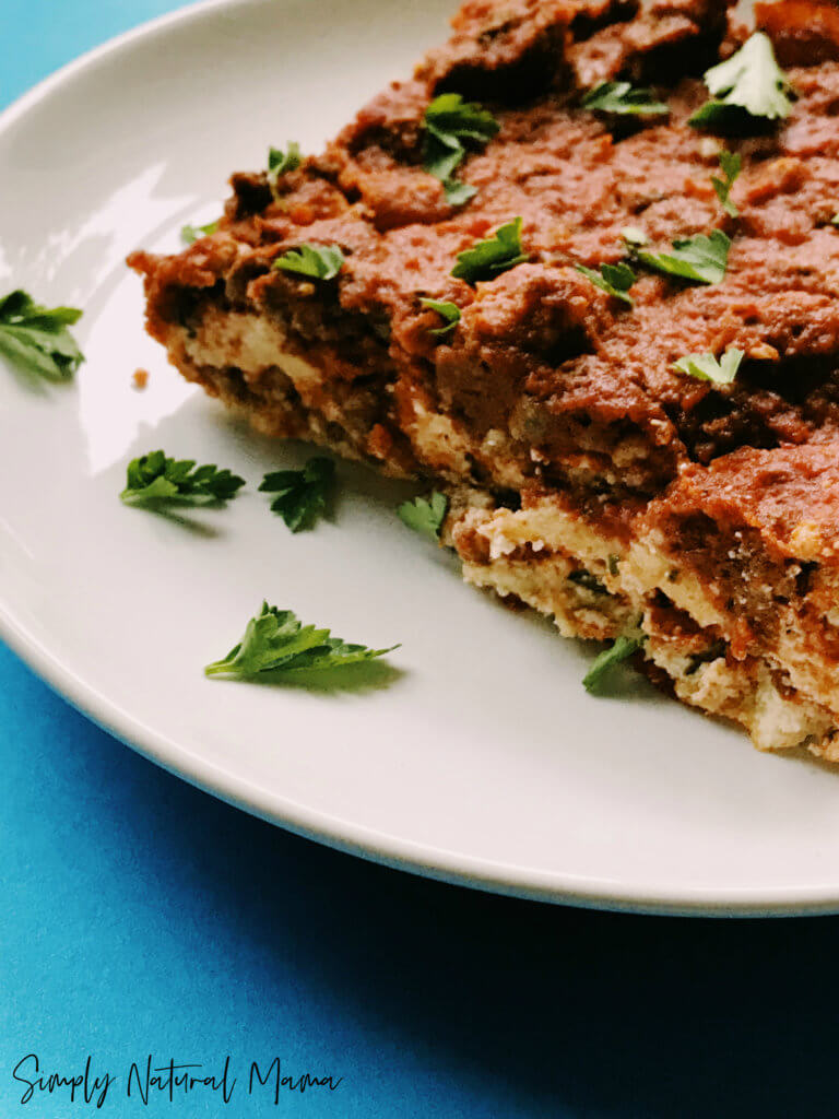Looking for the BEST paleo lasagna ever? Then look no further. Super meaty and oh so decadent! Oh yeah, and not only is it dairy-free and grain-free but zoodle-free too!